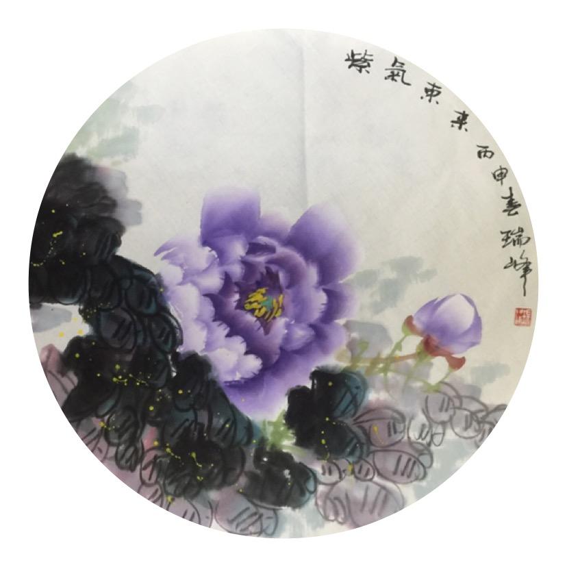 团扇写意牡丹《紫气东来》68cmx68cm